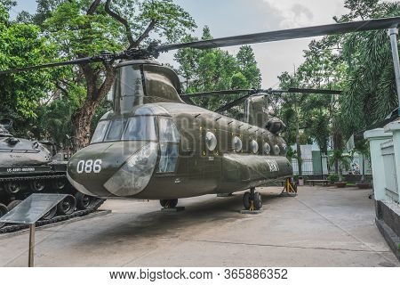 Helicopter At The Ho Chi Minh City War Museum. Ho Chi Minh, Vietnam - March 19, 2020