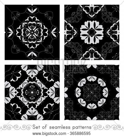 Set Of Seamless Patterns With Butterflies And Hearts. Color Black, White And Grey. Vector.