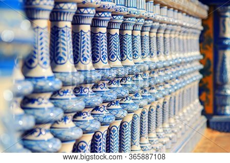Architectural Details Plaza De Espana Close Up. Blue And White Tiled Columns Fragment Background, Se