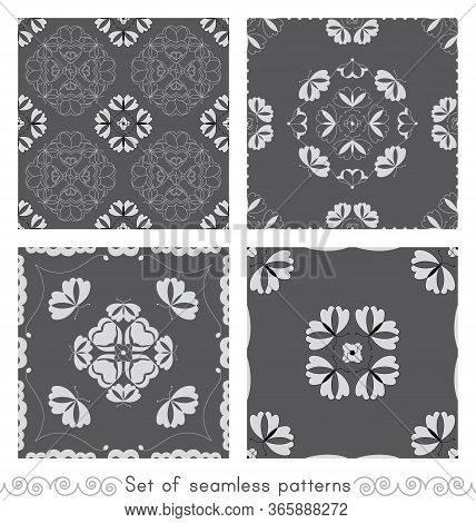 Set Of Seamless Patterns With Butterflies And Hearts. Color Grey, White And Black. Vector.