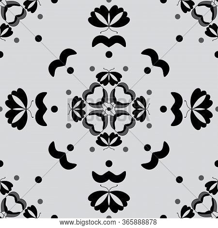 Seamless Pattern With Butterflies And Hearts. Light Grey Color And Black. Vector.