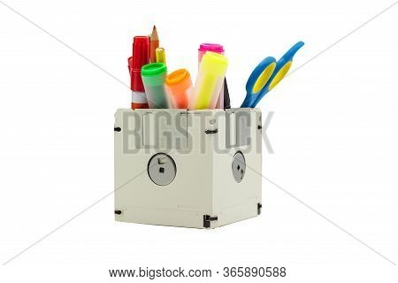 Recycle Floppy Disk, Creative Objects Used For Store Supplies Such As Pen Pencils Scissors In A Box