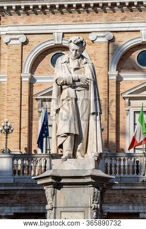 The Giacomo Leopardi Statue, Dedicated To Poet, Situated In Giacomo Leopardi Square Recanati Town, M