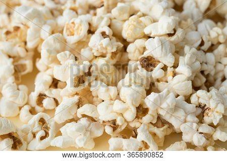 Popcorn Grains Close-up, Close Popcorn Texture, Popcorn On A Yellow Background
