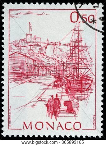 Luga, Russia - April 10, 2020: A Stamp Printed By Monaco Shows View Of Sailing Ships In The Monaco H