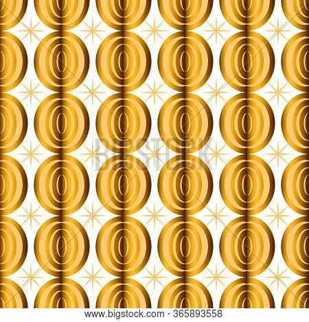 Art Deco Gold Seamless Pattern Isolated. Art Deco Pattern Circles On A White Background. Stock Vecto