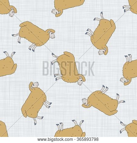 Seamless French Farmhouse Sheep Pattern. Farmhouse Linen Shabby Chic Style. Hand Drawn Rustic Textur