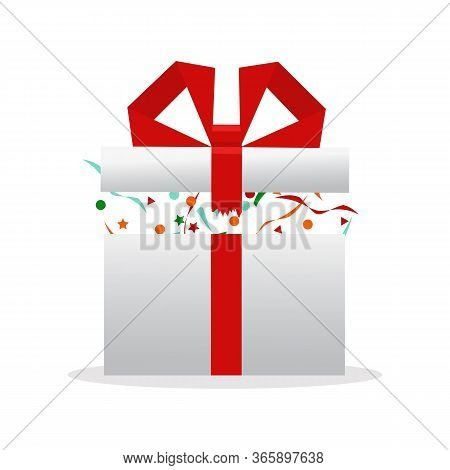 Gift Box, Birthday Package. Vector Illustration. Delight Present. Surprise Concept.