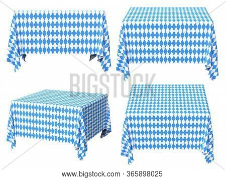 Oktoberfest Square Tablecloth With Blue-white Checkered Pattern Set Isolated On White, Traditional O