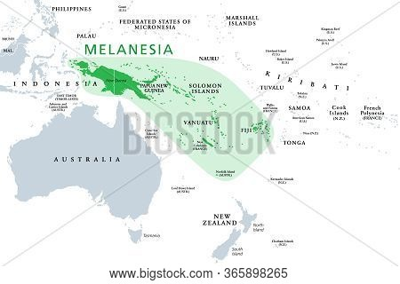 Melanesia, Subregion Of Oceania, Political Map. Extending From New Guinea In Southwestern Pacific Oc