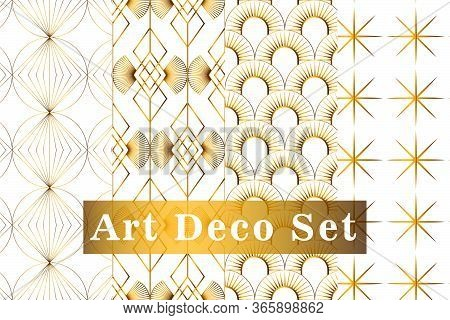 Art Deco Gold Seamless Pattern Isolated Set. Art Deco Pattern Circles On A White Background. Vector