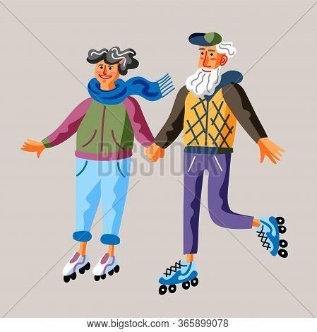 Seniors Roller Skate Flat Vector Illustration. Grandparents Holding Hands Together Riding Roller-ska
