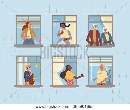 Neighbors In Window. Neighborhood Relationship Communication. Senior Couple, Mature Woman, Teenager