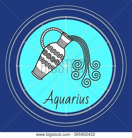 Aquarius Sign Of Horoscope, Sidereal Zodiac. Symbol Of Water Carrier Or Bearer In Circle. Jug With L