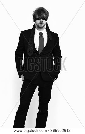 Bearded Macho Stylish Man In Elegant Suit With Blindfold Eyes