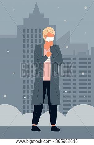Young Man Wearing Face Medical Mask Standing At Night City Background. Viral Pandemic. Coronavirus 2