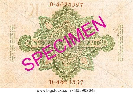 A Single 50 German Mark Bank Note (1910) Reverse