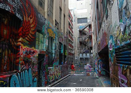Pictures On Walls Of Melbourne City Street