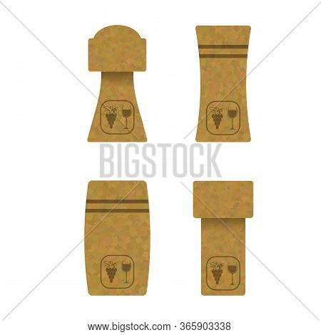 Set Of Different Wine And Champagne Traditional Cork Isolated On White Background. Realistic Bottle