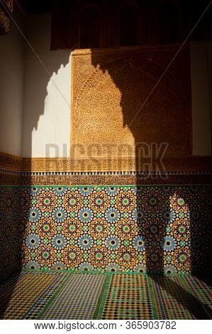 Decorated The Walls Of The Saadian Tombs Of Marrakesh, Morocco. Traditional Mosaic Tiles Known As Ze