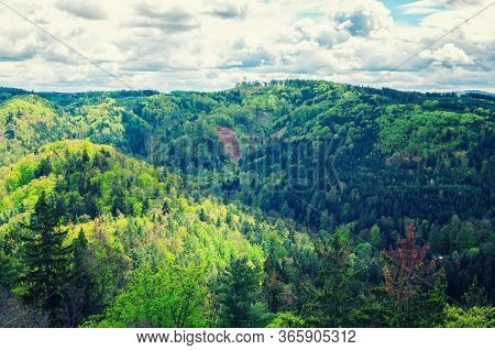 Slavkov Forest Aerial Panoramic View With Hills And Green Trees Near Carlsbad Town, Karlovy Vary Dis