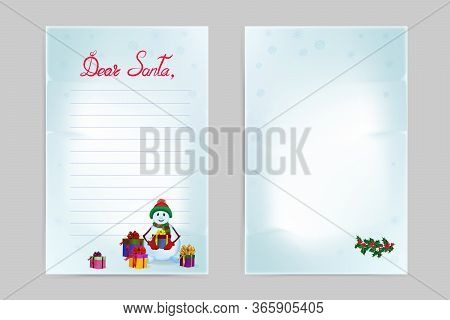 Christmas Wish List. Front And Back Side. Inscription: Dear Santa. A Snowman With Gifts And A Sprig