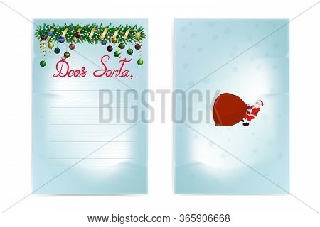 Christmas Wish List. Front And Back Side. Inscription: Dear Santa. Images Of A Christmas Garland And