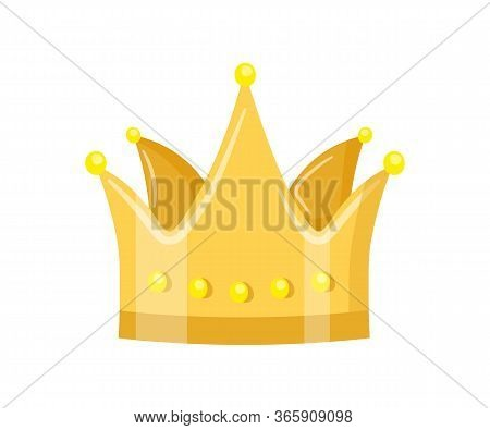 Golden Crown Flat Vector Illustration. Royal Headdress Isolated Clipart On White Background. Monarch