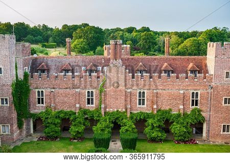 Aerial View Of Herstmonceux Garden, East Sussex, England. Brick Herstmonceux Castle In England (east