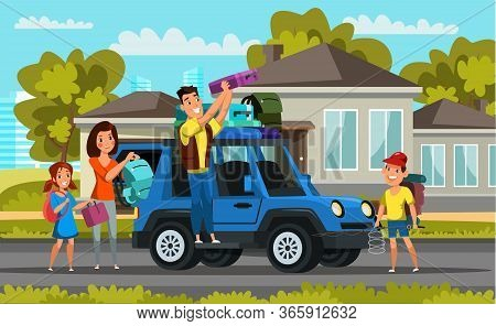 Family On Road Trip Flat Vector Illustration. Children And Parents Packing Car Cartoon Characters. S