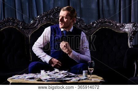 Macho With Tense Face Unbutton Waistcoat, Relax After Business Meeting.