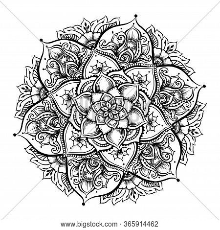 Mandala. Vintage Round Pattern. Hand Drawn Abstract Background. Traditional Indian Henna Mehendi Tat