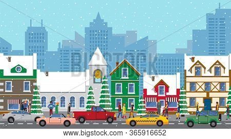 Busy City Life. Urban Panoramic View At Winter City. Cars Riding In Line, Snowy Weather. People Wear