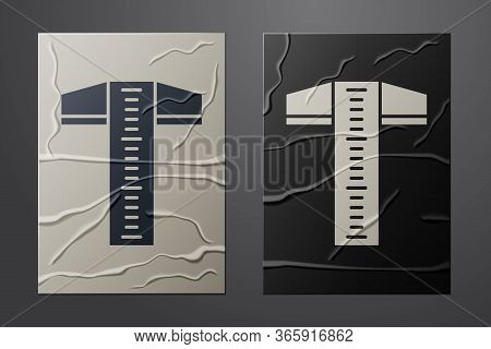 White T-square Line For Professional Drafting Icon Isolated On Crumpled Paper Background. Paper Art