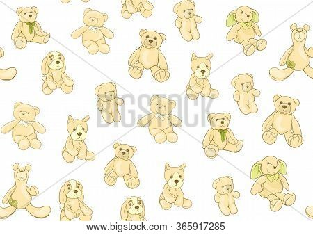 Teddy Bears, Hare And Dogs Stuffed Hand Maade Toys. Seamless Pattern. Colored Vector Illustration. I