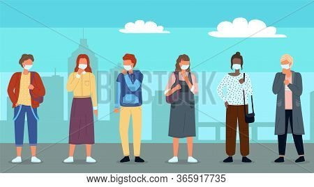 Group Of Young Multinational People In Medical Masks At Background Of City Park. Concept Of Viral Ep