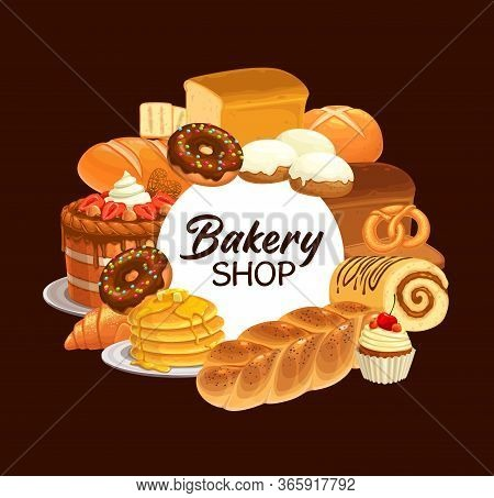 Bakery, Desserts And Bread Vector Frame. Sweet Cherry Cupcake, Pancakes And Croissants, Buns, Donuts