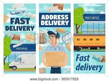 Freight And Parcels Mail Delivery Vector Design. Cartoon Courier Or Postman, Van, Airplane And Railw