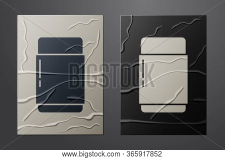 White Eraser Or Rubber Icon Isolated On Crumpled Paper Background. Paper Art Style. Vector