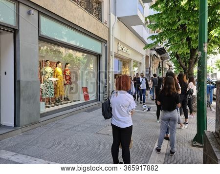 Thessaloniki, Greece - May 11 2020: Stores Open After Government Loosens Covid-19 Measures. Greeks K