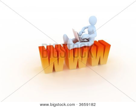 man connected to web site via internet poster