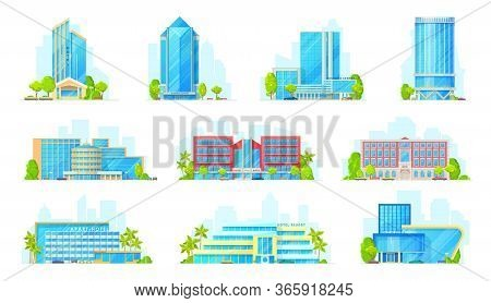 Hotels And Business Center Buildings Exterior Isolated Vector Icons. Cartoon Commercial And Coworkin