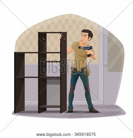 Furniture Assembly Service. Cartoon Carpenter Worker With Tools Assembling A Home Wardrobe Furniture