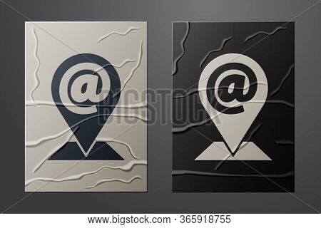 White Location And Mail And E-mail Icon Isolated On Crumpled Paper Background. Envelope Symbol E-mai