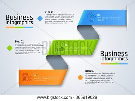 Step Chart Infographics Of Business Presentation Vector Template. Chart, Graph And Diagram With 3 St