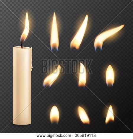 Candle With Fire Flame Lights Realistic Vector Mockup On Transparent Background. Burning Church Or P