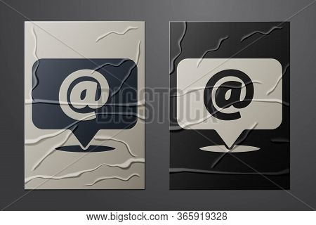 White Mail And E-mail Icon Isolated On Crumpled Paper Background. Envelope Symbol E-mail. Email Mess