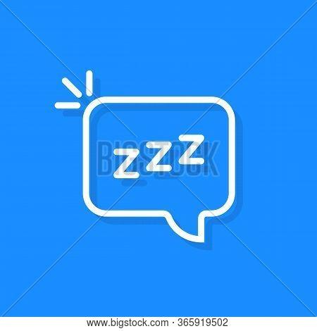 Simple Speech Bubble With Linear Zzz Logo. Flat Stroke Style Trend Modern Logotype Graphic Thin Line