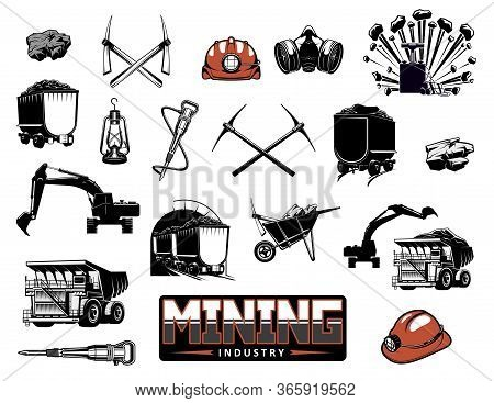 Coal Mining Industry Isolated Vector Icons. Mine Machinery And Miner Equipment Tools. Metal Ore, Coa