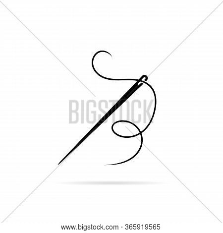 Black Needle Icon With Thread For Sew. Flat Minimal Style Trend Modern Logotype Graphic Art Design O